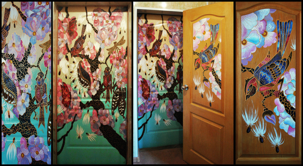 """Sakura"". Door painting for beauty salon"