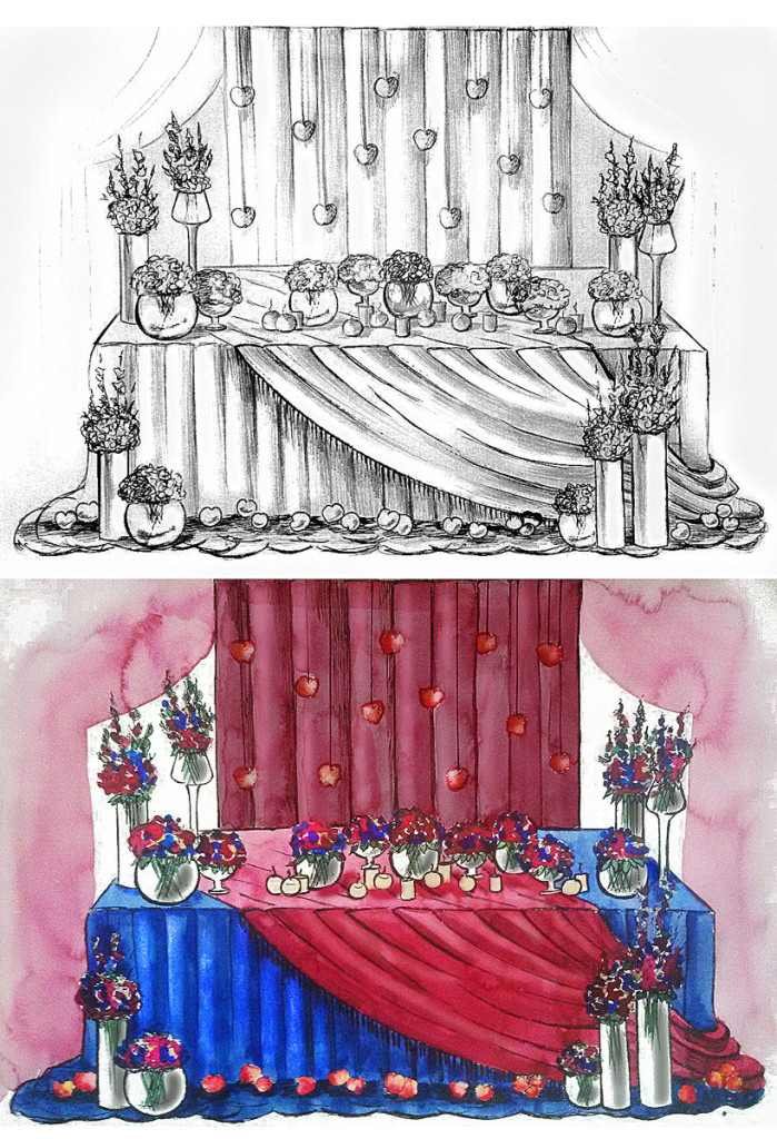 Wedding watercolor sketch of newlyweds table