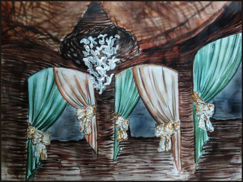 Watercolor sketch of arbor wedding decorations