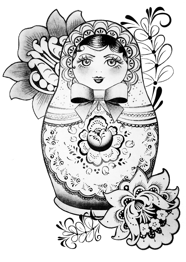 "Tattoo sketch ""matryoshka"""