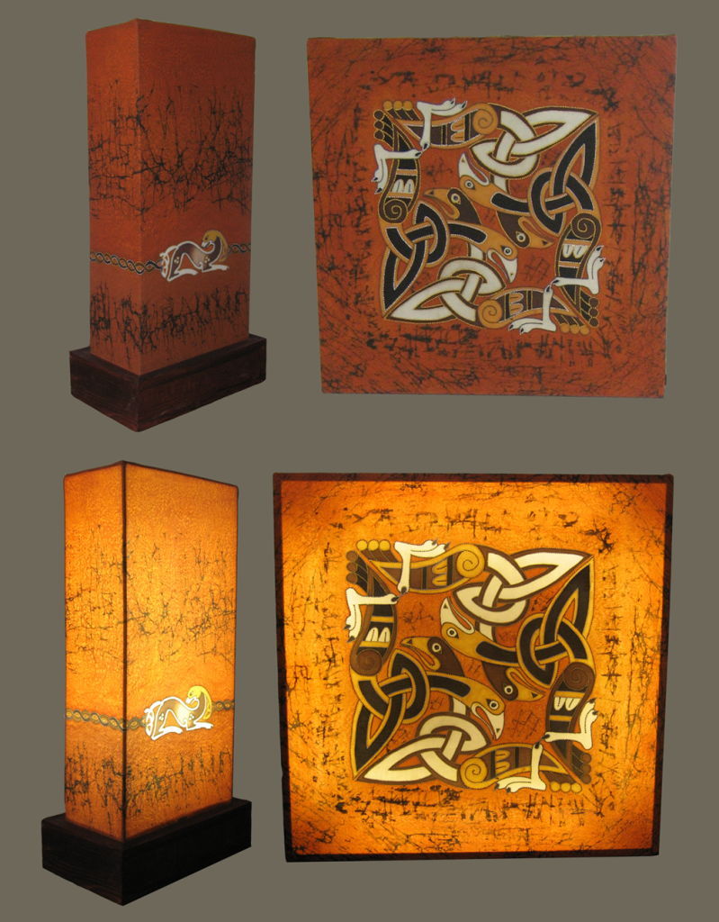 """Celtic"" handmade lamps covered with batik"