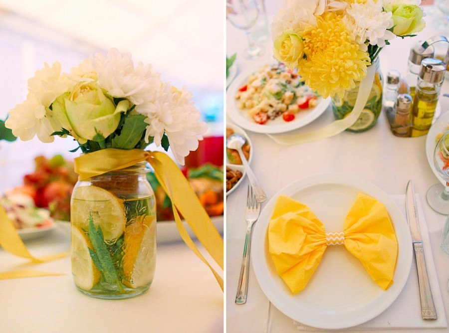 """Lemon Wedding"". Table appointments and flowers arrangements for guests tables"
