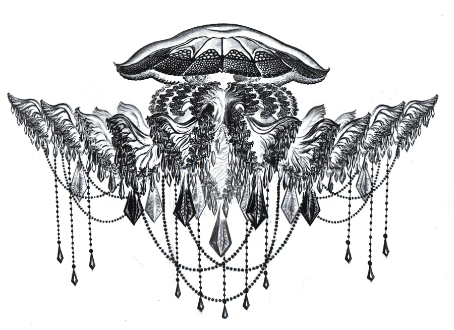 "Tattoo sketch ""jellyfish"" inspired by Ernst Haeckel"
