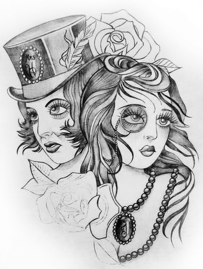 "Tattoo sketch ""Dr. Jekyll and Mrs. Hyde"""