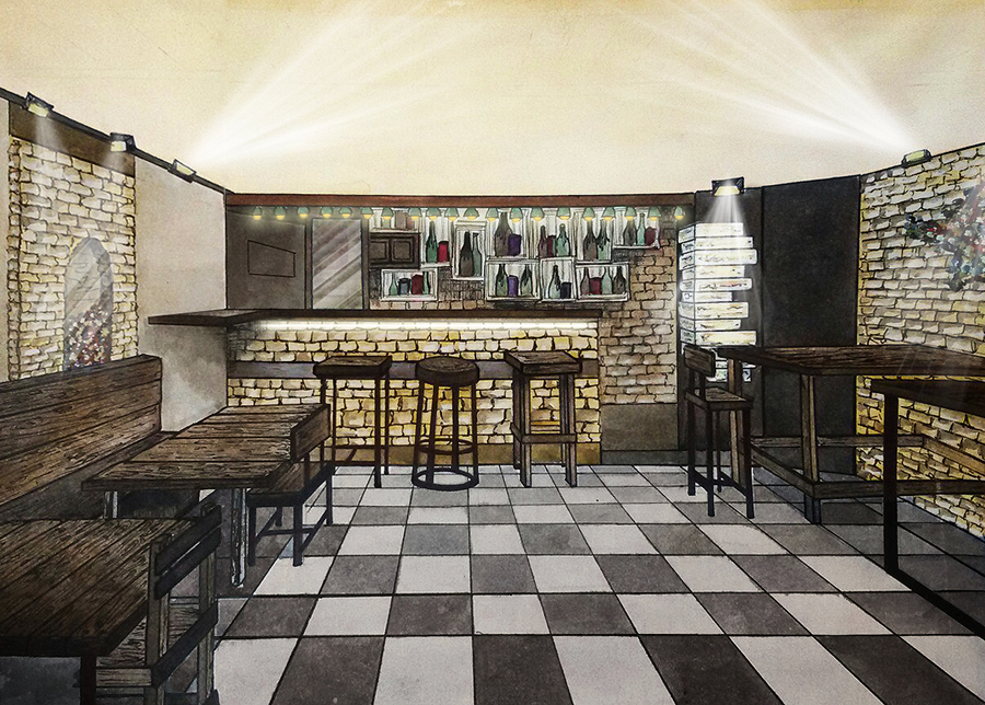 Watercolor visualization of craft beer pub