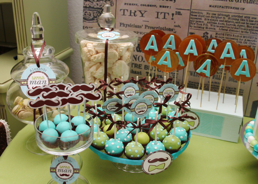 """""""Little man"""" birthday party, candy bar details"""