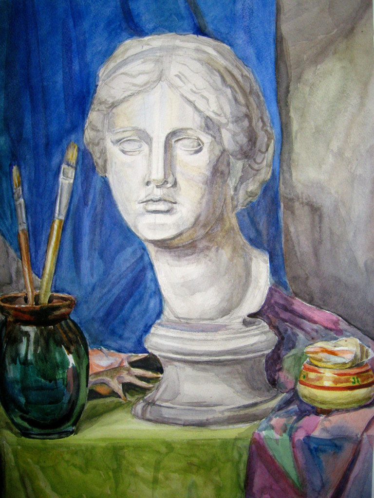 """Venus"". Watercolor still life painting"
