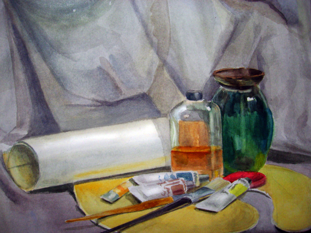 """Art Supplies"". Watercolor still life painting"