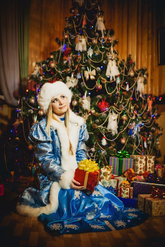 Santa Claus Village. Christmas tree with handmade toys