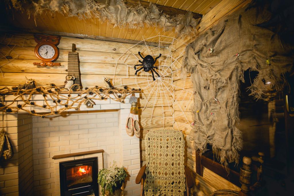 Santa Claus Village. Witch house decoration