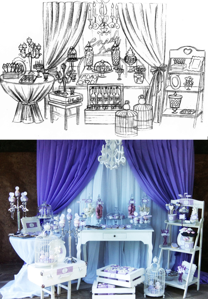 Wedding candy bar sketch and result