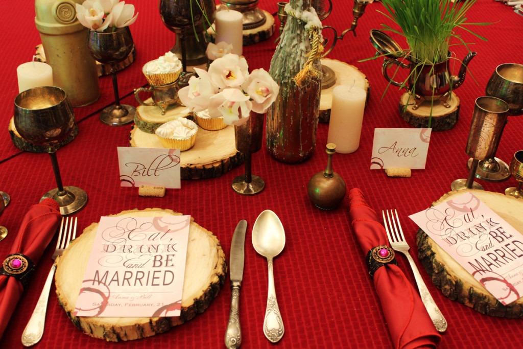 """Eclectic Wine"" wedding, table appointments"