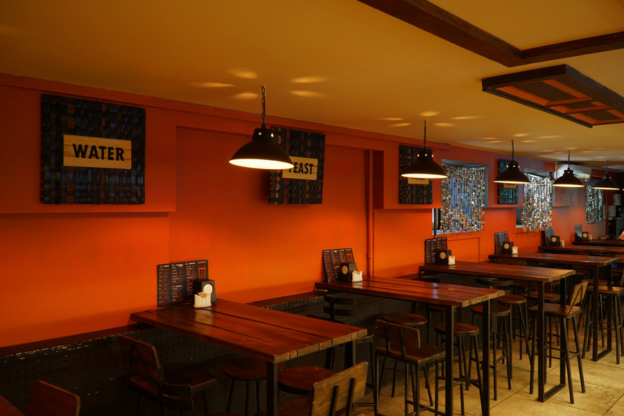 "Concept and decor of craft beer pub. ""Red Door Pub"""