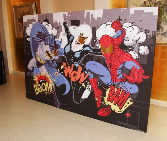"""Superheroes"" birthday party photozone"