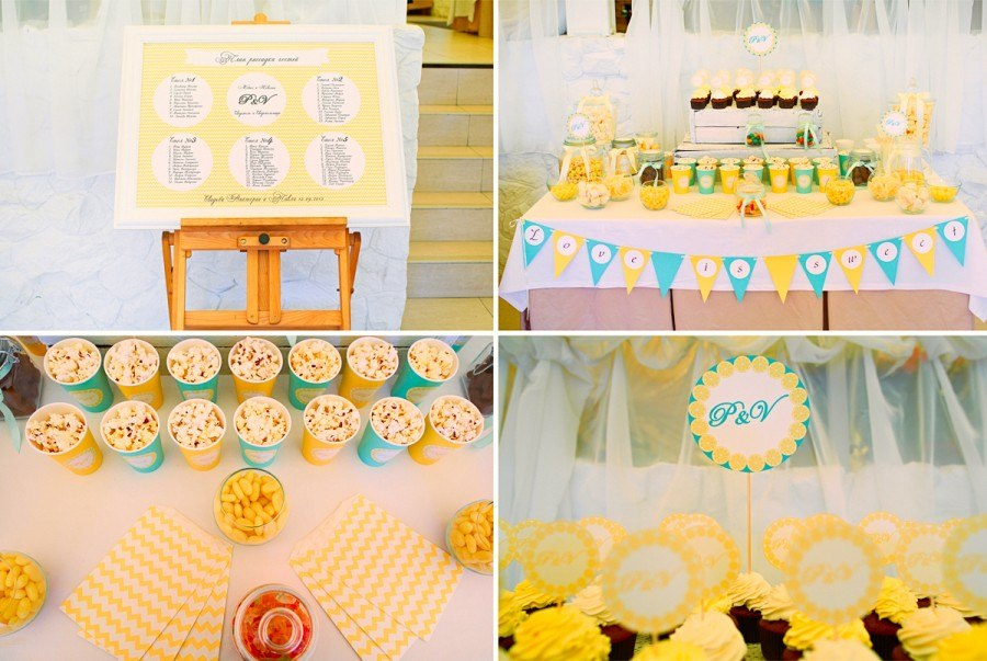 """Lemon Wedding"". Candy bar & table seating plan"
