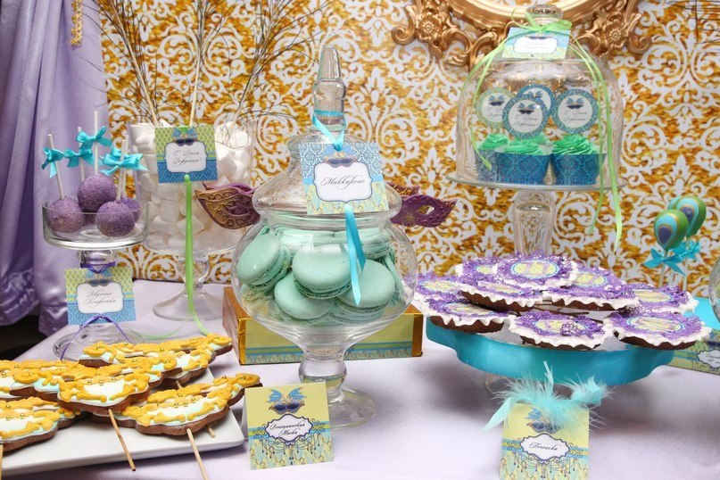 """""""Venetian Mask"""" birthday party, candy bar details"""